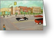Street Lights Drawings Greeting Cards - Arts of Lapeer Greeting Card by Sharon Lee Samyn