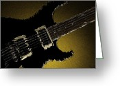 Museum Print Greeting Cards - Artsy Guitar Gold Background Greeting Card by M K  Miller