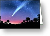 Hale-bopp Greeting Cards - Artwork Of Comet Hale-bopp Over A Tree Landscape Greeting Card by Chris Butler