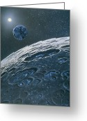 Moon Surface Greeting Cards - Artwork Of Ice In Craters On The Moons Surface Greeting Card by Chris Butler