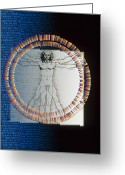Vinci Greeting Cards - Artwork Of Male Figure With Genetic Sequence Greeting Card by Pasieka