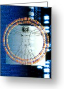 Vinci Greeting Cards - Artwork Of Male Figure With Genetic Sequences Greeting Card by Pasieka