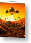 Sample Greeting Cards - Artwork Of Mars Sample Return Mission Leaving Mars Greeting Card by Detlev Van Ravenswaay