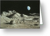Moon Surface Greeting Cards - Artwork Of Moons Surface With Earth In The Sky Greeting Card by Ludek Pesek