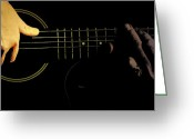 Musicians Glass Greeting Cards - As Sound Contrasts  Greeting Card by Steven  Digman