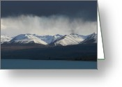 Lake Tekapo Greeting Cards - As the Clouds Rolled In Greeting Card by Jan Lawnikanis