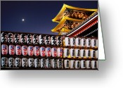 Nightshot Greeting Cards - Asakusa Kannon Temple Pagoda and Lanterns at Night Greeting Card by Christine Till