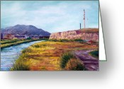 River Pastels Greeting Cards - Asarco and the River Greeting Card by Candy Mayer