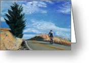 Cyclist Greeting Cards - Ascent Greeting Card by Colleen Proppe