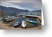 Green Water Greeting Cards - Ascona - Ticino Greeting Card by Joana Kruse