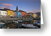 Sunset Light Greeting Cards - Ascona am Abend Greeting Card by Joana Kruse