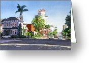 Architecture Painting Greeting Cards - Ash and Second Avenue in San Diego Greeting Card by Mary Helmreich