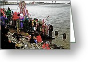 Mississippi River Scene Greeting Cards - Ashes to Water Mardi Gras Day in New Orleans Greeting Card by Louis Maistros
