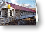 Slates Greeting Cards - Asheulot Covered Bridge Greeting Card by Mary Anne Williams