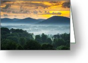 Mist Greeting Cards - Asheville NC Blue Ridge Mountains Sunset - Welcome to Asheville Greeting Card by Dave Allen