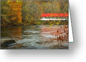 New England Autumn Greeting Cards - Ashuelot Bridge Greeting Card by Jon Holiday