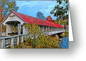 Dj Florek Greeting Cards - Ashuelot Covered Bridge Greeting Card by DJ Florek