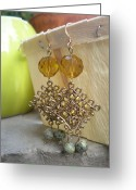 Metal Jewelry Greeting Cards - Asian Beaded Earrings Greeting Card by Beth Sebring