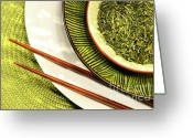 Asia Greeting Cards - Asian bowls filled with herbs Greeting Card by Sandra Cunningham