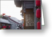 Work Lamp Greeting Cards - Asian Buildings With Red Lamps Greeting Card by Shannon Fagan