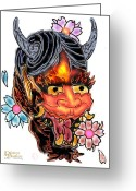 Diana Riukas Greeting Cards - Asian Demon Greeting Card by Diana Riukas