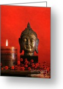 Asia Greeting Cards - Asian theme with candle  Greeting Card by Sandra Cunningham