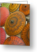Umbrellas Greeting Cards - Asian Umbrellas Greeting Card by Michele Burgess