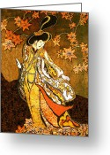 Woman Tapestries - Textiles Greeting Cards - Asian Woman Greeting Card by Alexandra  Sanders