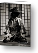 Shoji Screen Greeting Cards - Asian Woman in Kimono Greeting Card by Oleksiy Maksymenko