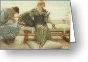 Alma-tadema Greeting Cards - Ask me no more....for at a touch I yield Greeting Card by Sir Lawrence Alma-Tadema
