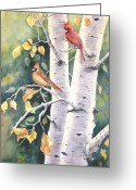Cardinals Greeting Cards - Aspen Light Greeting Card by Patricia Pushaw