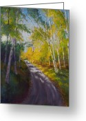 Woods Pastels Greeting Cards - Aspen Lit Trail Greeting Card by Marcus Moller