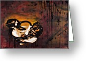 Paper Mixed Media Greeting Cards - Asphyxiation by Oil Dependency Greeting Card by Iosua Tai Taeoalii