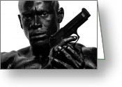 Muscles Greeting Cards - Assassin in Black and White Greeting Card by Val Black Russian Tourchin