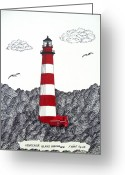 Historic Lighthouse Drawings Greeting Cards - Assateague Island Lighthouse Drawing Greeting Card by Frederic Kohli