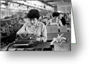 Typewriter Greeting Cards - Assembly Line Greeting Card by Haywood Magee