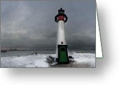 Fyn Greeting Cards - Assens Lighthouse Greeting Card by Robert Lacy