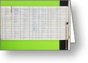 Horizontal Lines Greeting Cards - Assignment Board On Green Wall Greeting Card by Don Mason