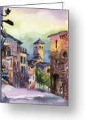 Assisi Greeting Cards - Assisi Street Scene Greeting Card by Lydia Irving