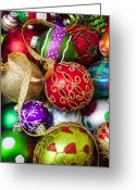 Ribbons Greeting Cards - Assorted beautiful ornaments Greeting Card by Garry Gay