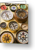 Old Map Photo Greeting Cards - Assorted compasses Greeting Card by Garry Gay