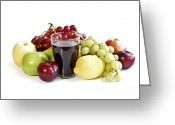 Juice Greeting Cards - Assorted fruits on white Greeting Card by Elena Elisseeva