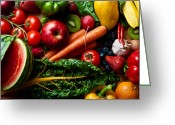 Melon Greeting Cards - Assorted fruits vegetables and spicy stuff Greeting Card by Arjuna Kodisinghe