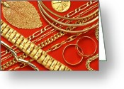 Gold Bracelet Greeting Cards - Assorted Gold Jewellery Greeting Card by Martyn F. Chillmaid
