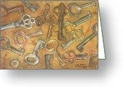Ken Greeting Cards - Assorted Skeleton Keys Greeting Card by Ken Powers
