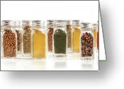 Chili Greeting Cards - Assorted spice bottles isolated on white Greeting Card by Sandra Cunningham