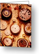 Numbers Photo Greeting Cards - Assorted watches on time chart Greeting Card by Garry Gay
