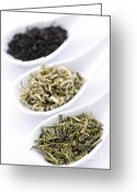 Whole Greeting Cards - Assortment of dry tea leaves in spoons Greeting Card by Elena Elisseeva