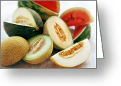 Melon Greeting Cards - Assortment Of Melons Greeting Card by David Munns