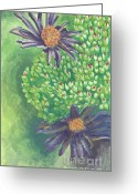 Aster  Painting Greeting Cards - Aster Greeting Card by Acqu Art